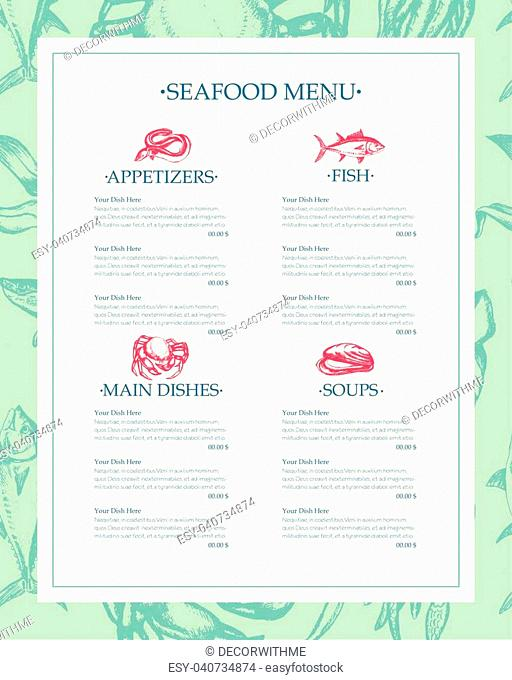 Delicious Seafood - color vector hand drawn vintage template menu with copy space. Realistic alga, seaweed, squid, crab, shrimp, mussel, giant scallop, oyster