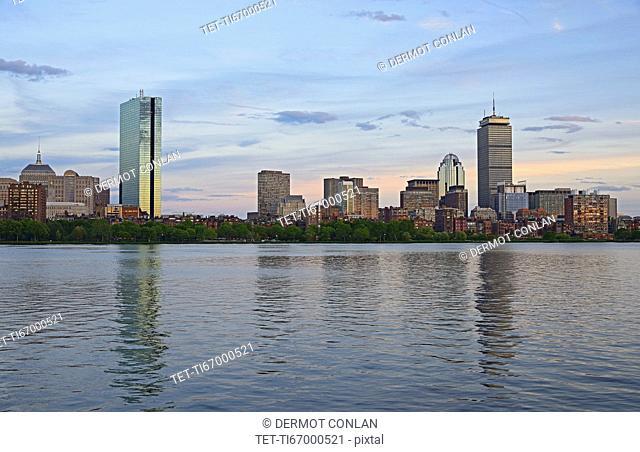 Massachusetts, Boston, Charles river and city skyline at dusk
