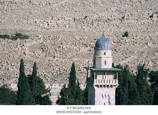 minaret in front of Jewish Cemetery at Mount of Olives, Israel, Jerusalem