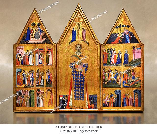 Gothic painted Panel Altarpiece of Saint Vincent by Master of Estopanya. Tempera and gold leaf on wood. Circa 1350-1370. 199 x 255 x 10 cm