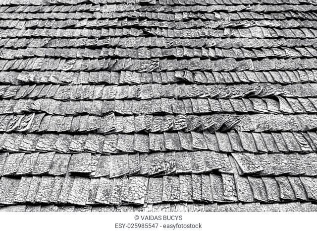 Black and white picture of weathered wooden roof tiles