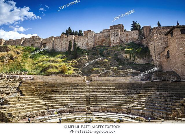 Teatro Romano in Malaga - Andalucia, Spain. The roman amphitheatre is one of the oldest landmarks in Malaga, thought to have been built in the first century BC
