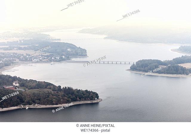 Aerial photo of Soester Börde, Haarstrang, Germany. Möhnesee