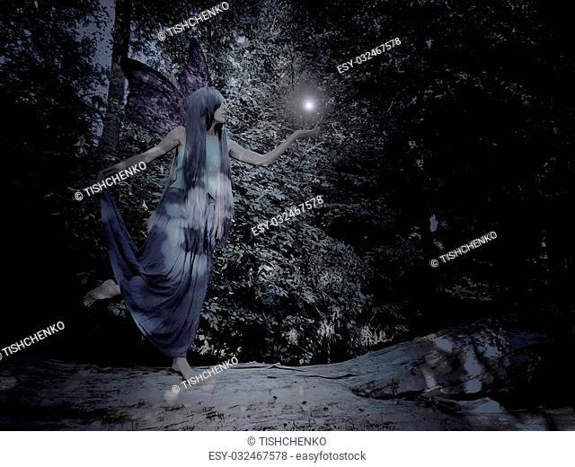 Fantasy girl with blue hair in the magic forest