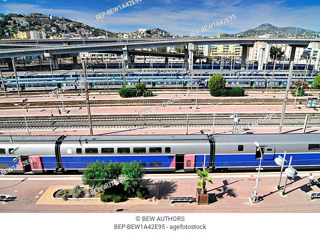 View from Above of the Nice-Ville train station and TGV Trains in Nice, Cote d'Azur, France