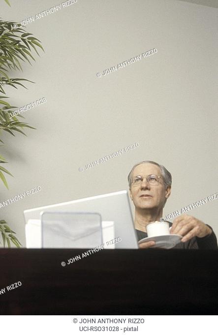 Mature man sitting behind laptop