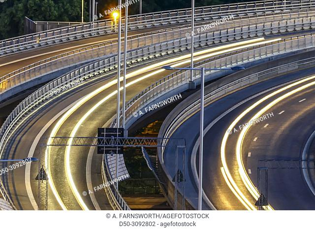 The E-4 highway and trails of car lights. Stockholm, Sweden