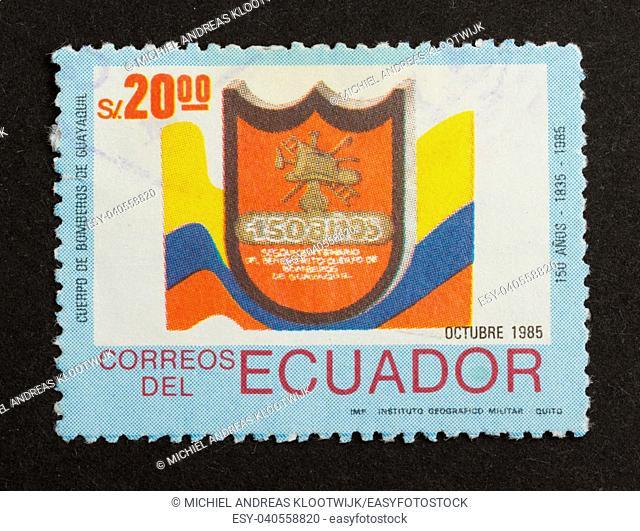 ECUADOR - 1985: Stamp printed in Ecuador shows a local symbol, 1985