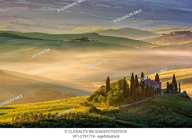 The classic symbol of the Val d'Orcia, the Belvedere at San Quirico d'Orcia. Tuscany Italy