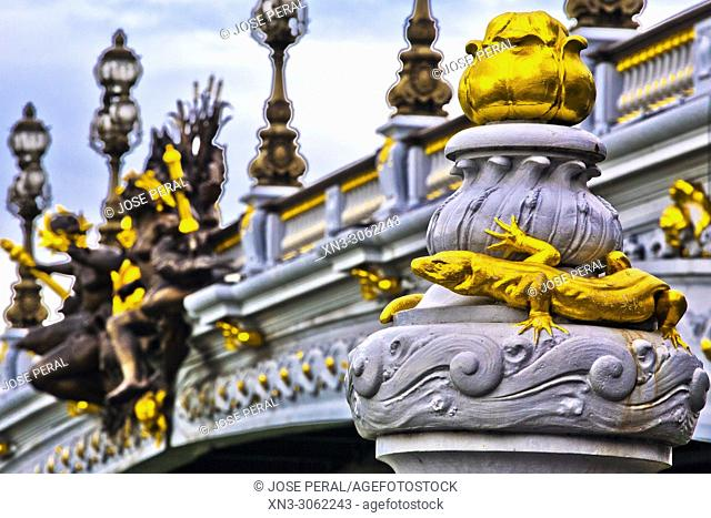 Pont Alexandre III Bridge, decorated with ornate Art Nouveau lamps and sculptures, River Seine, Paris, France, Europe