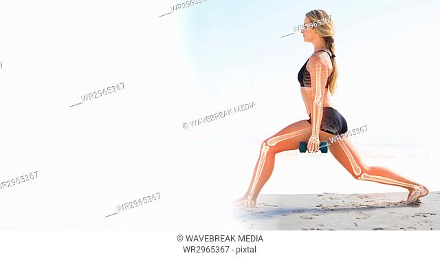 Woman working out on beach and white transition