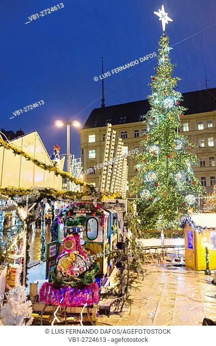 Funfair at a Christmas market in Brno, Czech Republic