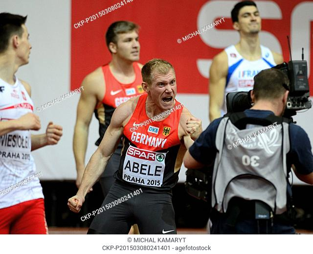 Germany's Arthur Abele celebrates after the winning the 60m hurdles of the men's heptathlon during the European Athletics Indoors Championships in Prague