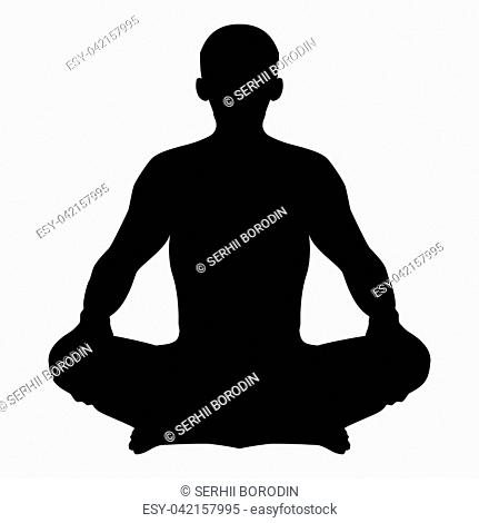 Man in pose lotus Yoga pose Meditation position silhouette Asana icon black color vector illustration flat style simple image