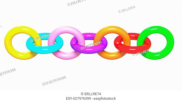 3d rendering of a colored abstract chain