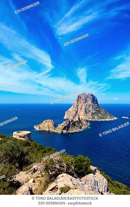 Ibiza Es Vedra view from Torre des Savinar Tower San Jose in Balearic Islands