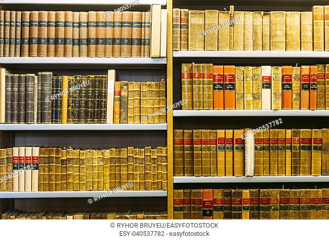HELSINKI, FINLAND - JULY 28, 2014: Old Russian Vintage Books On A Shelfs In The National Library of Finland