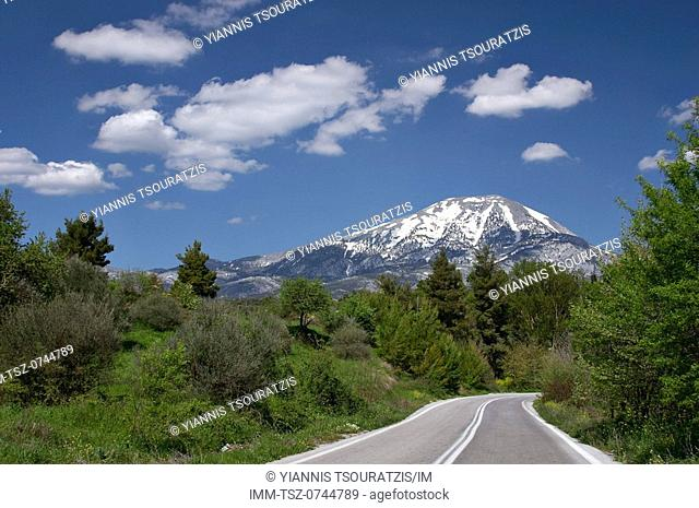 On the road to Steni with Mount Dirfi in the background. Halkida, Evia, Central Greece, Europe