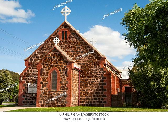 Historic stone church in Nhill, a farming community in the Wimmera region of western Victoria, Australia