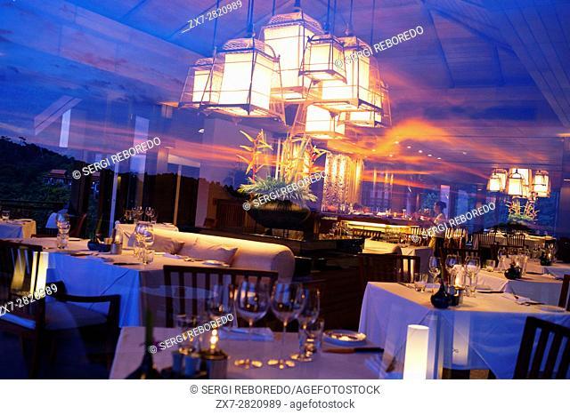 Sunset. Restaurant in the luxury hotel Pimalai Resort, Kantiang Beach, Ko Lanta or Koh Lanta island, Krabi, Thailand, Asia
