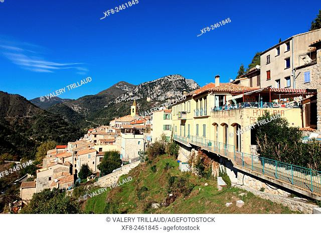 Medieval perched village of Sainte Agnes, Alpes-Maritimes, Côte d'Azur, French Riviera, France