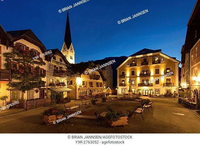 Early morning twilight over the Marktplatz, Hallstatt, Saltzkammergut, Austria
