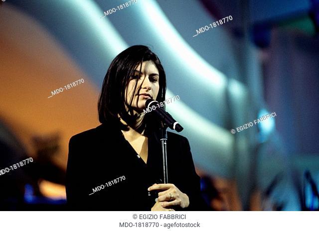 Italian singer-songwriter Laura Pausini performing at the 44th Sanremo Music Festival. Sanremo, February 1994