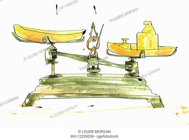 Weighing banana on old-fashioned scales
