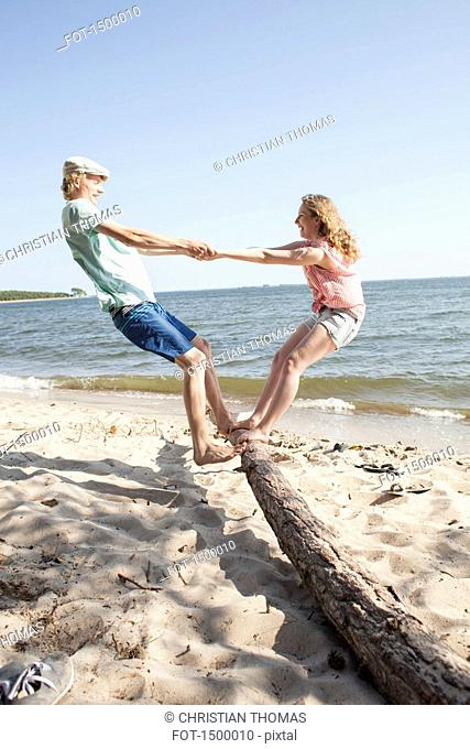 Friends enjoying while standing on driftwood at beach against clear sky
