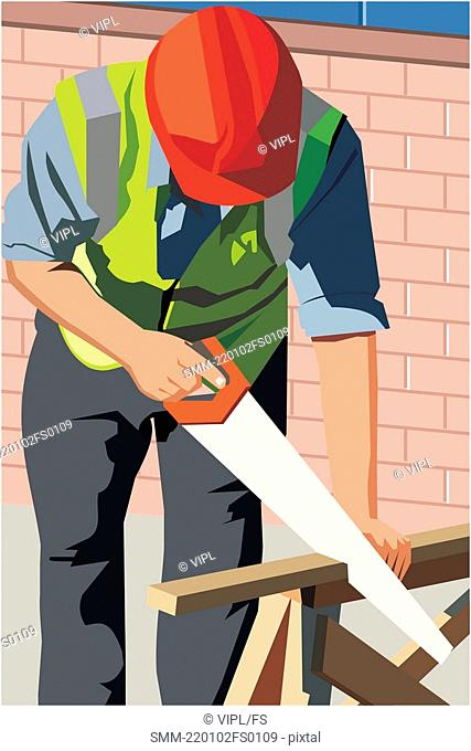 Front view of a construction worker cutting wood