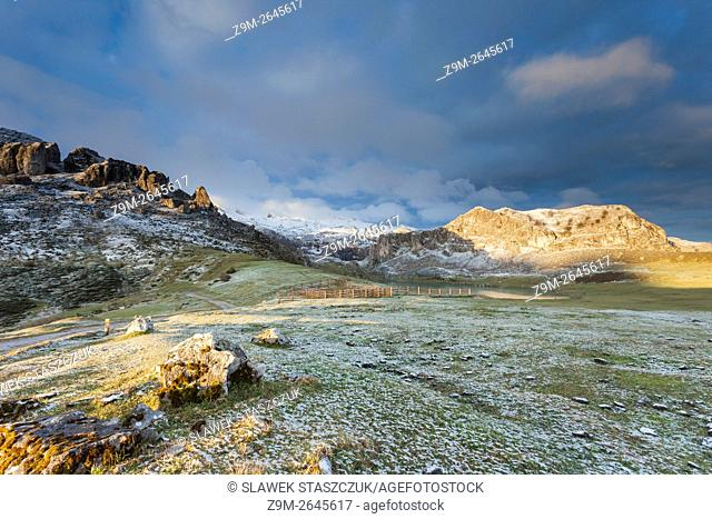 Fresh snow on a spring morning at Lake Ercina near Covadonga, Picos de Europa National Park, Asturias, Spain