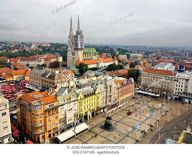 Ban Jelacic square and cathedral from Zagreb Eye building. Croatia. Europe