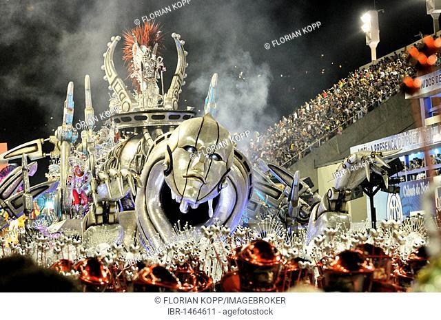 Allegorical float of the Beija-Flor de Nikopol samba school at the Carnaval in Rio de Janeiro 2010, Brazil, South America