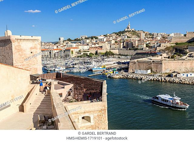 France, Bouches du Rhone, Marseille, Fort St Jean and the entrance to the Old Port