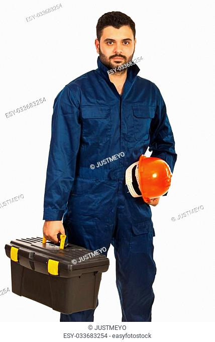 Electrician worker holding box of utensils and hat isolated o nwhite background