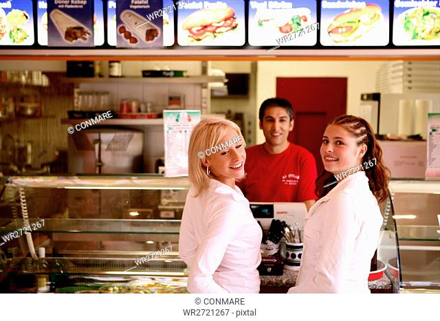 girls, fast food, checkout counter, teenagers, gir