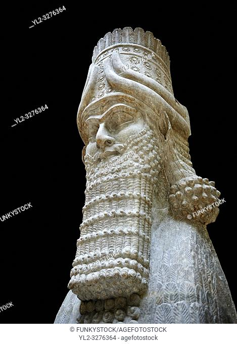 Stone statue of a winged bull. From city gate no 3, Inv AO 19859 from Dur Sharrukin the palace of Assyrian king Sargon II at Khorsabad, 713-706 BC