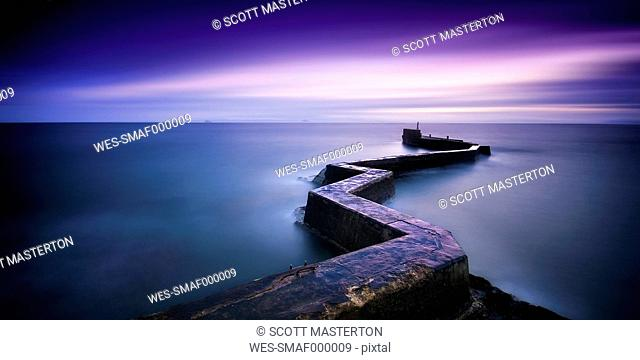 UK, Scotland, View of St Monans during sunset