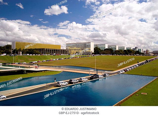 See Partially of the Esplanade of the Ministries, starting from the National Congress, Distrito Federal, Brasília, Brazil