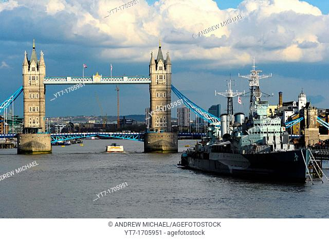 Tower bridge with HMS Belfast, on the Thames, London