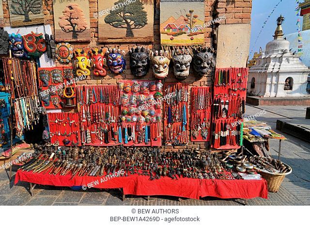 Nepal, Kathmandu, Ganesha Elephant God Head Mask and the others souvenirs on street market