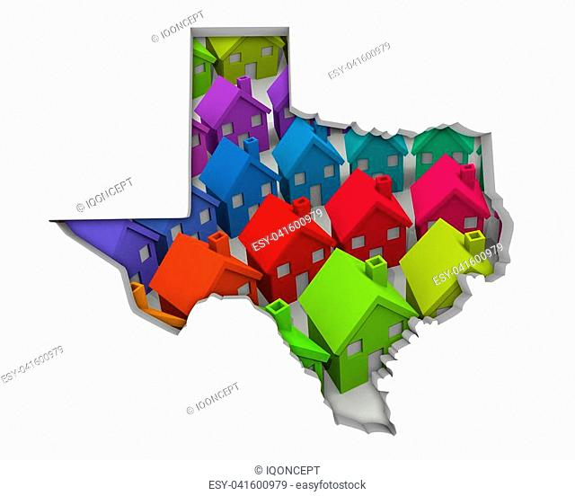 Texas TX Homes Homes Map New Real Estate Development 3d Illustration