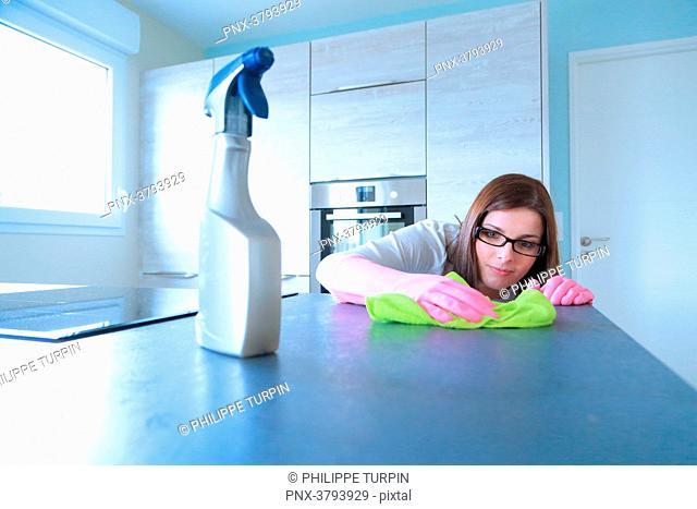 France, maniac woman doing housework
