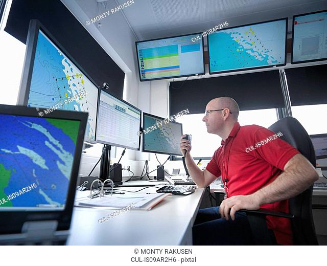 Operator in offshore windfarm control room