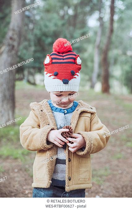 Boy wearing wooly hat holding pine cone in forest