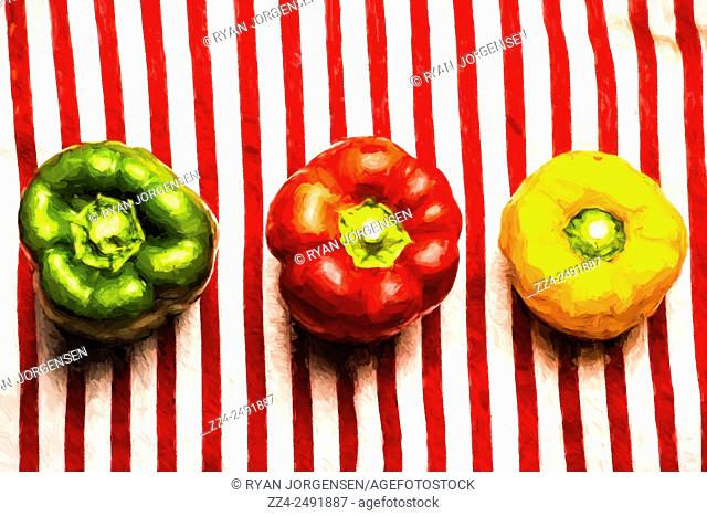 Painted along the lines of same same but different, is a variety of three capsicum peppers sitting on a red striped tablecloth