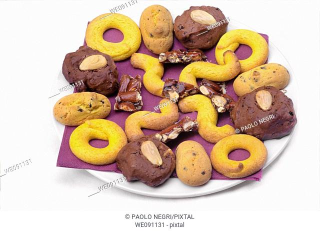 Italy, Venice, Assorted  biscuits on plate