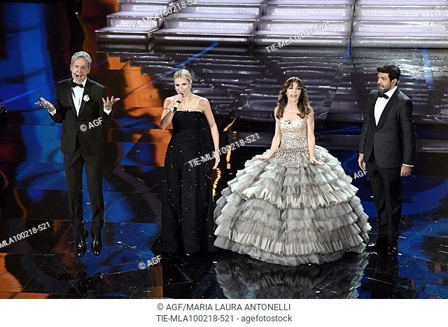 Claudio Baglioni, Michelle Hunziker, Sabrina Impacciatore, Pierfrancesco Favino during Sanremo Italian Music Festival, Sanremo, Italy 10/02/2018