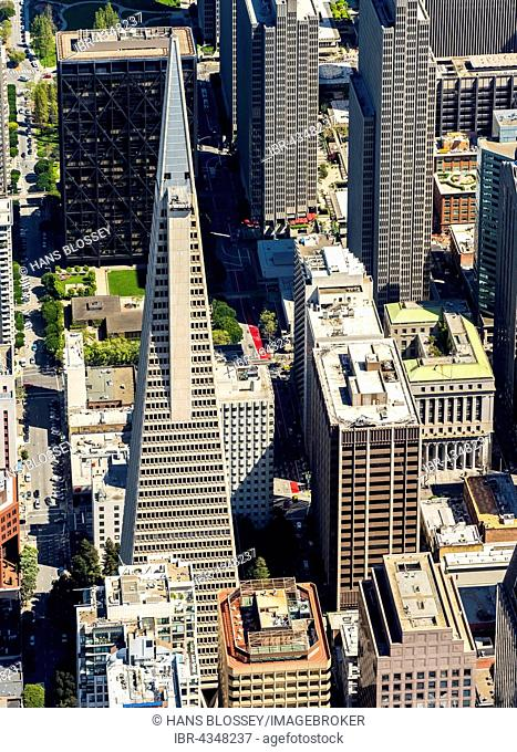 Aerial view, Transamerica Pyramid, Financial District, Downtown, San Francisco, San Francisco Bay Area, California, USA