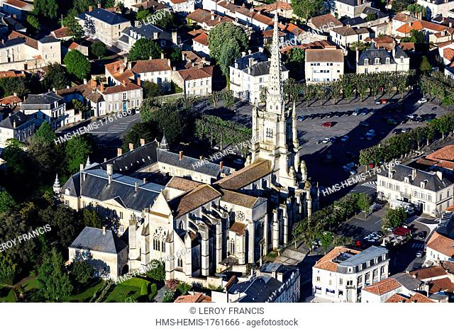 France, Vendee, Lucon, Notre Dame de l'Assomption cathedral (aerial view)